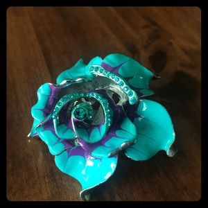 Large blue and purple enamel flower ring